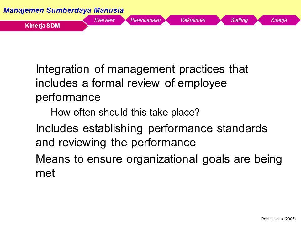 Manajemen Sumberdaya Manusia SverviewStaffingKinerjaRekrutmenPerencanaan Robbins et al (2005) Kinerja SDM Integration of management practices that includes a formal review of employee performance How often should this take place.