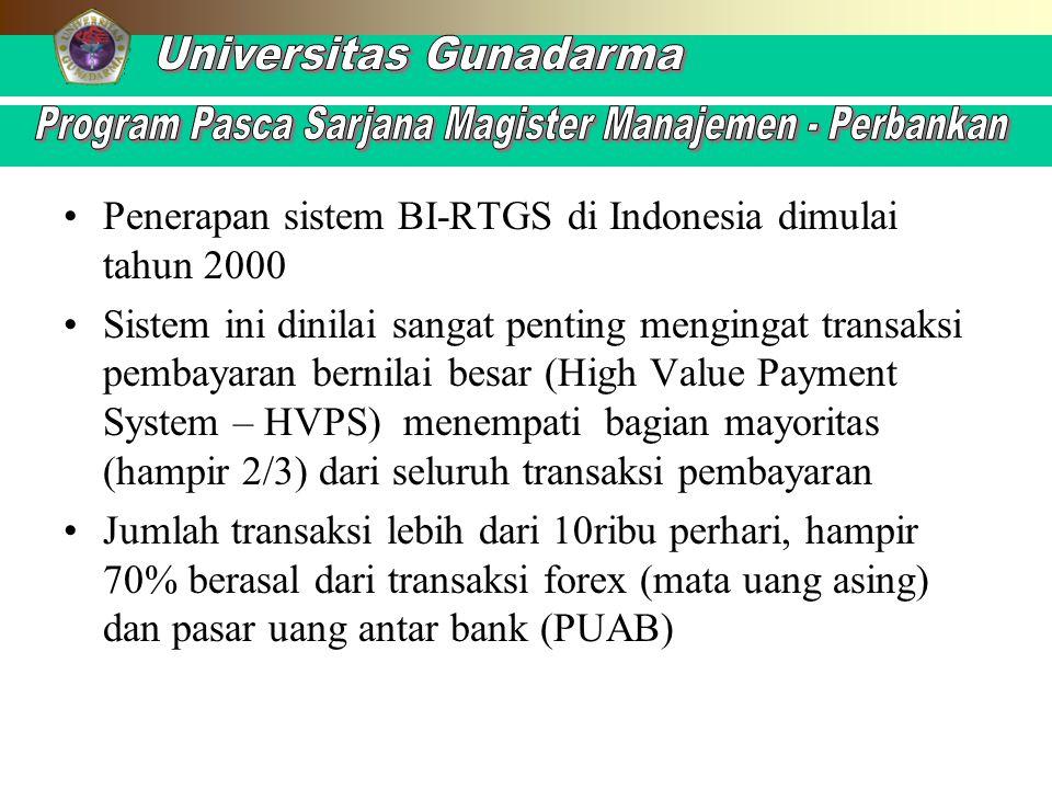 Penerapan sistem BI-RTGS di Indonesia dimulai tahun 2000 Sistem ini dinilai sangat penting mengingat transaksi pembayaran bernilai besar (High Value P