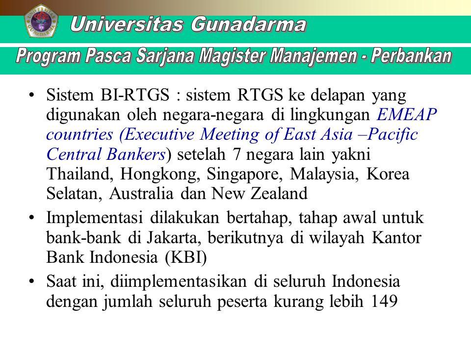 Sistem BI-RTGS : sistem RTGS ke delapan yang digunakan oleh negara-negara di lingkungan EMEAP countries (Executive Meeting of East Asia –Pacific Centr