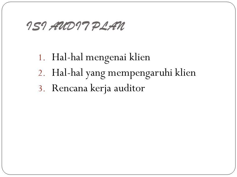ISI AUDIT PLAN 1. Hal-hal mengenai klien 2. Hal-hal yang mempengaruhi klien 3. Rencana kerja auditor