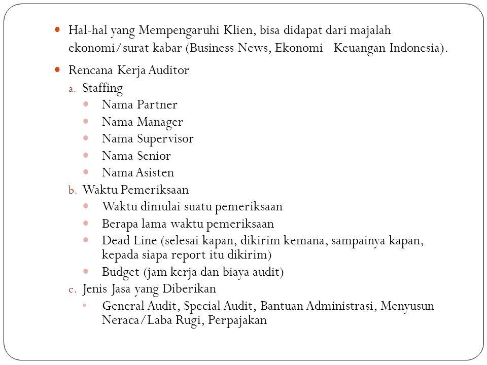 Hal-hal yang Mempengaruhi Klien, bisa didapat dari majalah ekonomi/surat kabar (Business News, Ekonomi Keuangan Indonesia). Rencana Kerja Auditor a. S