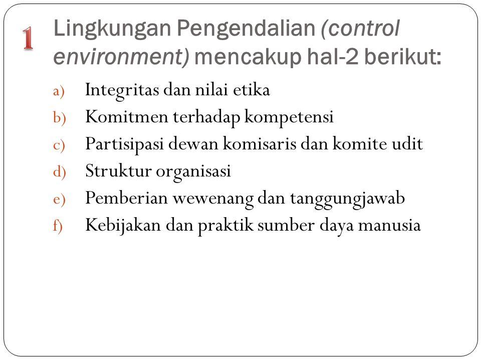 Lingkungan Pengendalian (control environment) mencakup hal-2 berikut: a) Integritas dan nilai etika b) Komitmen terhadap kompetensi c) Partisipasi dew