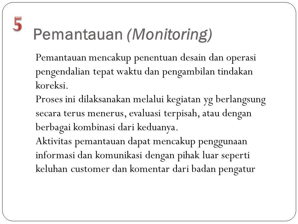 Pemantauan (Monitoring) Pemantauan mencakup penentuan desain dan operasi pengendalian tepat waktu dan pengambilan tindakan koreksi. Proses ini dilaksa