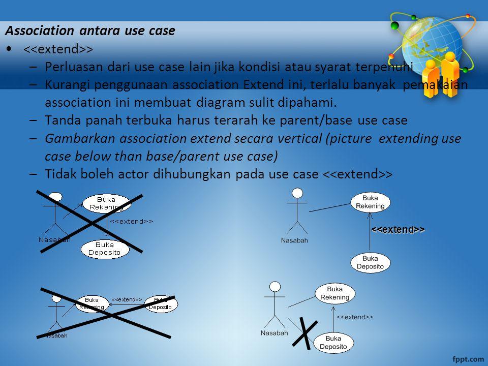 Association antara use case > –Perluasan dari use case lain jika kondisi atau syarat terpenuhi –Kurangi penggunaan association Extend ini, terlalu ban
