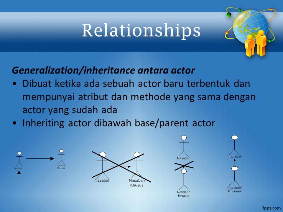 Generalization/inheritance antara actor Dibuat ketika ada sebuah actor baru terbentuk dan mempunyai atribut dan methode yang sama dengan actor yang su