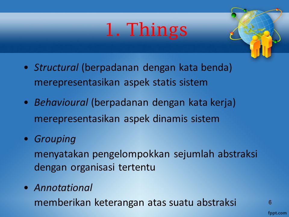 6 Structural (berpadanan dengan kata benda) merepresentasikan aspek statis sistem Behavioural (berpadanan dengan kata kerja) merepresentasikan aspek d