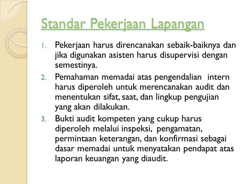 Standar Pekerjaan Lapangan Standar Pekerjaan Lapangan 1. Pekerjaan harus direncanakan sebaik-baiknya dan jika digunakan asisten harus disupervisi deng