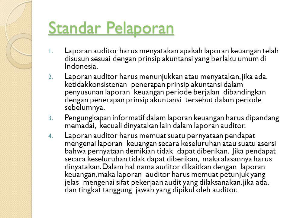 Standar Pelaporan Standar Pelaporan 1. Laporan auditor harus menyatakan apakah laporan keuangan telah disusun sesuai dengan prinsip akuntansi yang ber