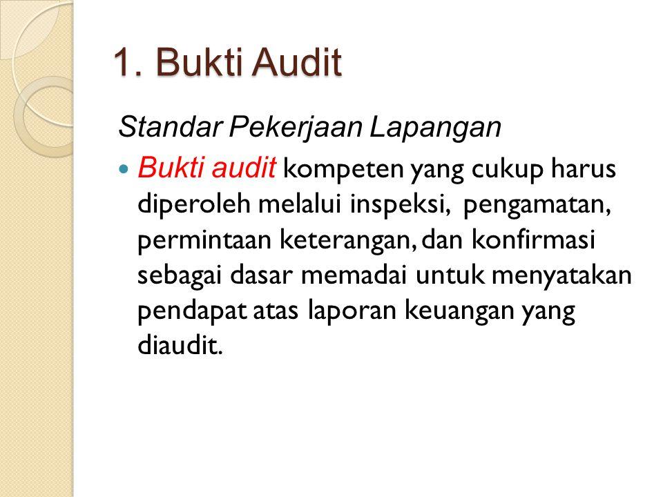1. Bukti Audit Standar Pekerjaan Lapangan Bukti audit kompeten yang cukup harus diperoleh melalui inspeksi, pengamatan, permintaan keterangan, dan kon
