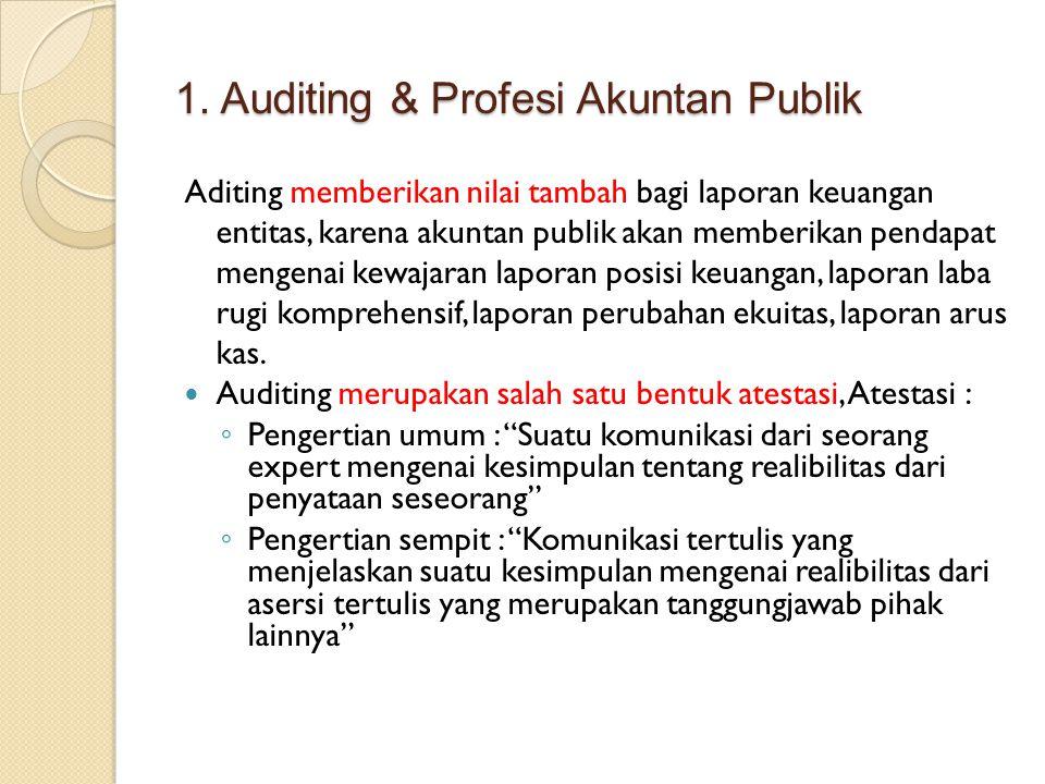 1. Auditing & Profesi Akuntan Publik Aditing memberikan nilai tambah bagi laporan keuangan entitas, karena akuntan publik akan memberikan pendapat men