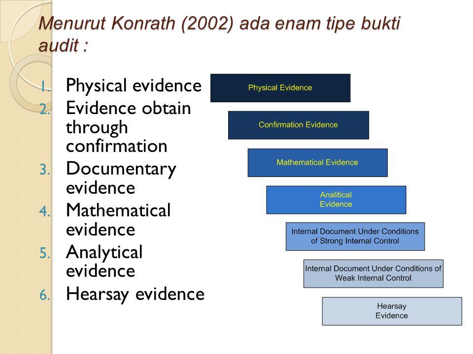 Menurut Konrath (2002) ada enam tipe bukti audit : 1. Physical evidence 2. Evidence obtain through confirmation 3. Documentary evidence 4. Mathematica