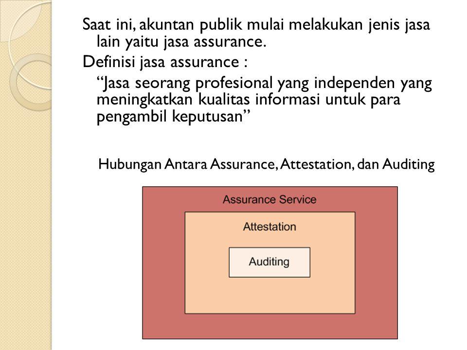 "Saat ini, akuntan publik mulai melakukan jenis jasa lain yaitu jasa assurance. Definisi jasa assurance : ""Jasa seorang profesional yang independen yan"