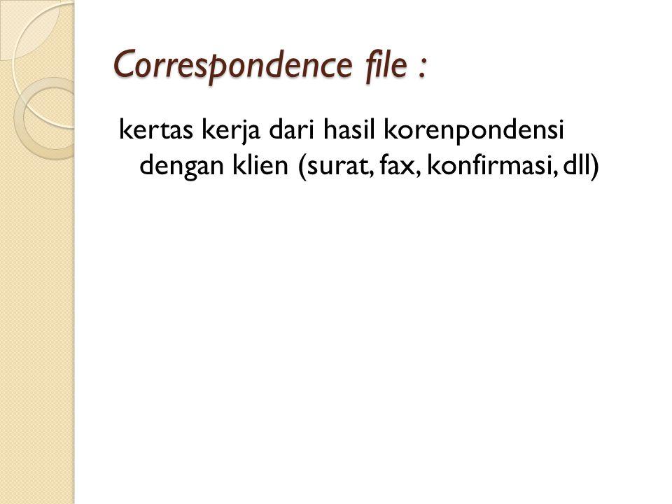 Correspondence file : kertas kerja dari hasil korenpondensi dengan klien (surat, fax, konfirmasi, dll)
