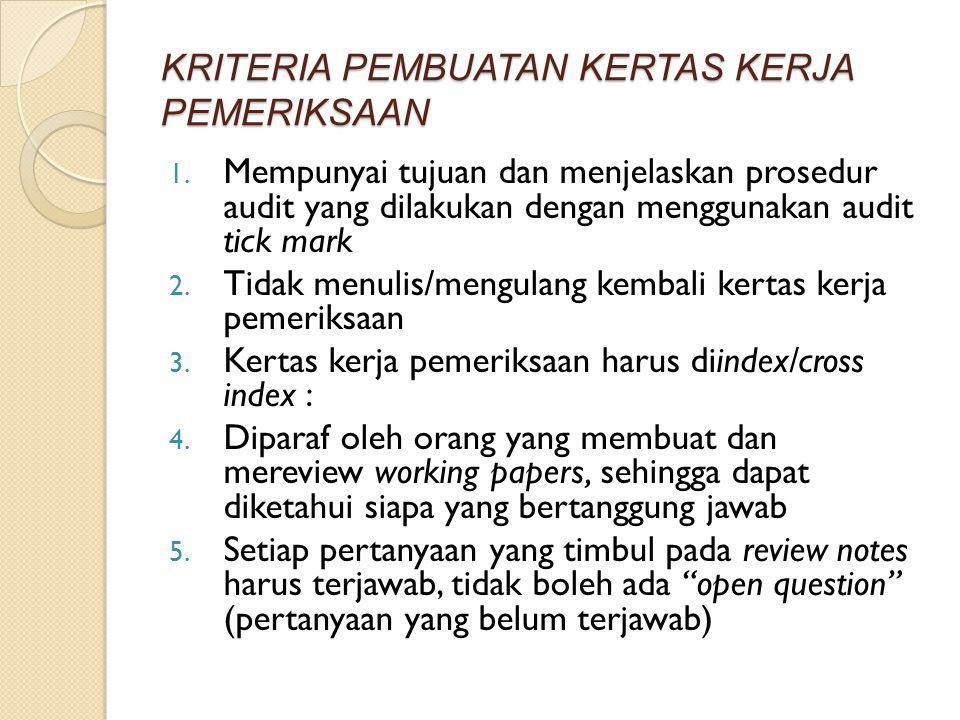 KRITERIA PEMBUATAN KERTAS KERJA PEMERIKSAAN 1. Mempunyai tujuan dan menjelaskan prosedur audit yang dilakukan dengan menggunakan audit tick mark 2. Ti