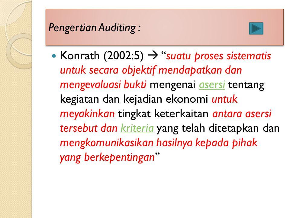 "Pengertian Auditing : Konrath (2002:5)  ""suatu proses sistematis untuk secara objektif mendapatkan dan mengevaluasi bukti mengenai asersi tentang keg"