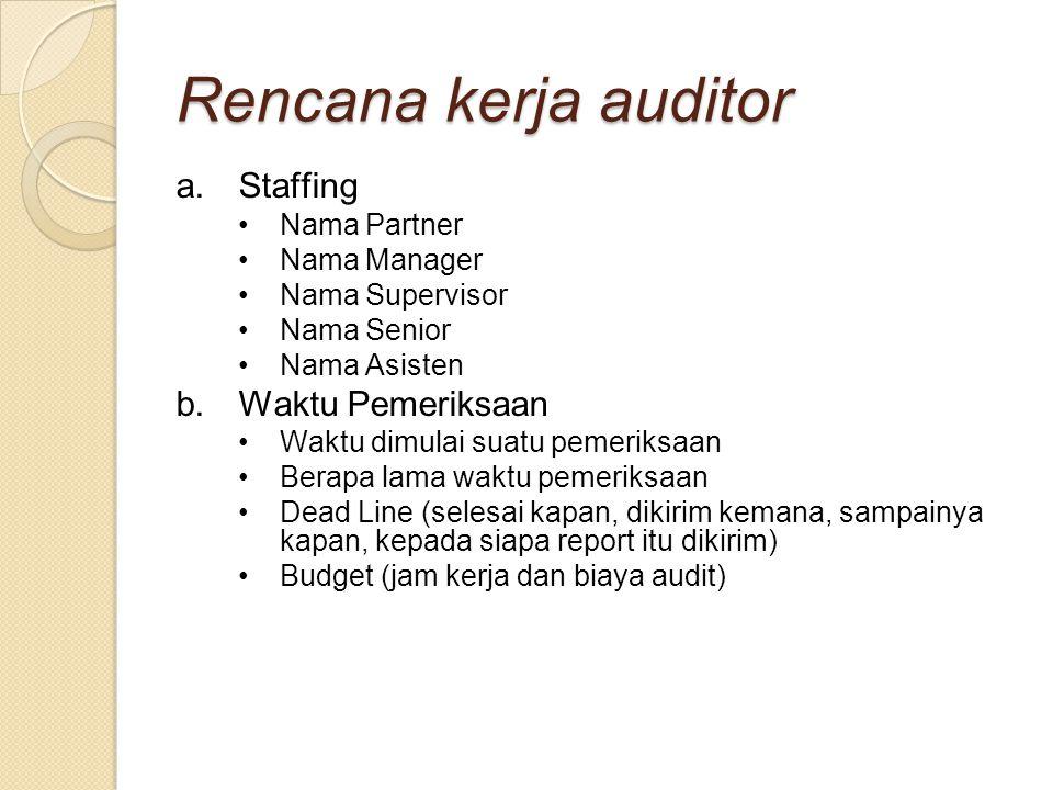Rencana kerja auditor a.Staffing Nama Partner Nama Manager Nama Supervisor Nama Senior Nama Asisten b.Waktu Pemeriksaan Waktu dimulai suatu pemeriksaa
