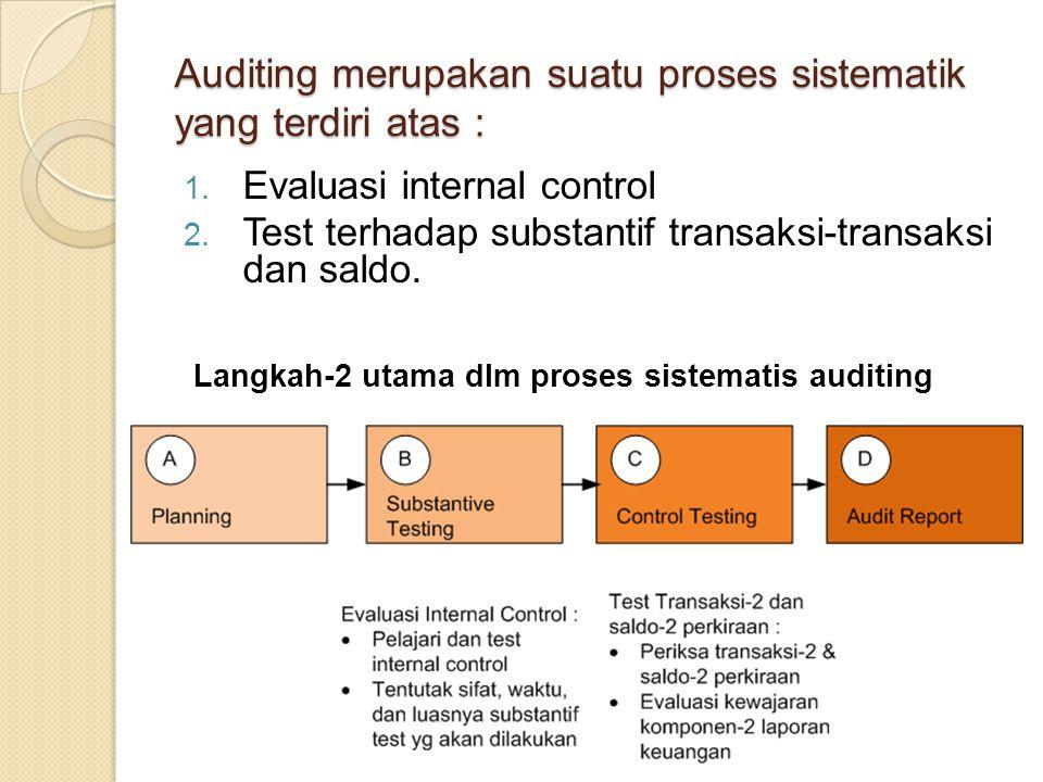 Auditing merupakan suatu proses sistematik yang terdiri atas : 1. Evaluasi internal control 2. Test terhadap substantif transaksi-transaksi dan saldo.