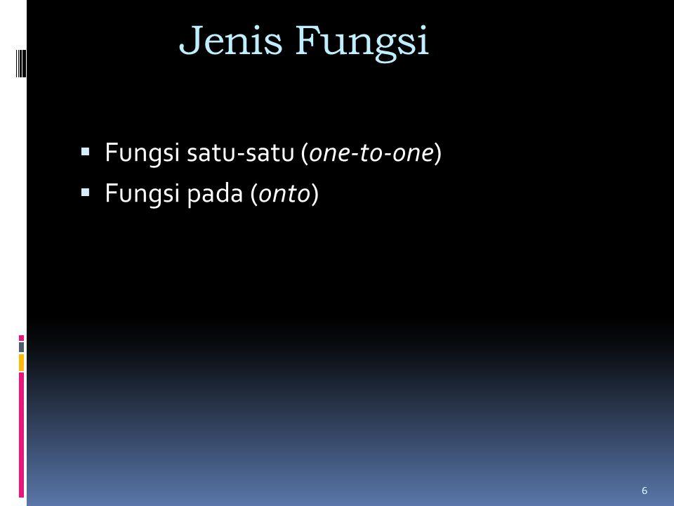 Jenis Fungsi  Fungsi satu-satu (one-to-one)  Fungsi pada (onto) 6