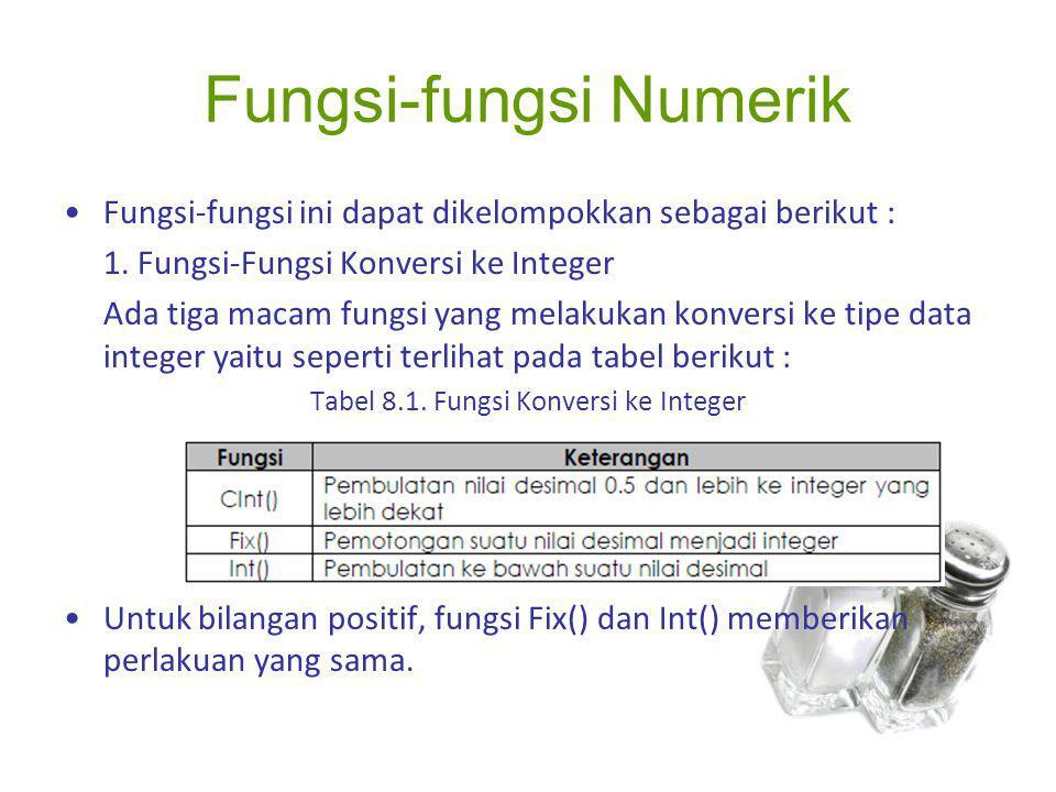 Fungsi-fungsi Numerik Fungsi-fungsi ini dapat dikelompokkan sebagai berikut : 1. Fungsi-Fungsi Konversi ke Integer Ada tiga macam fungsi yang melakuka