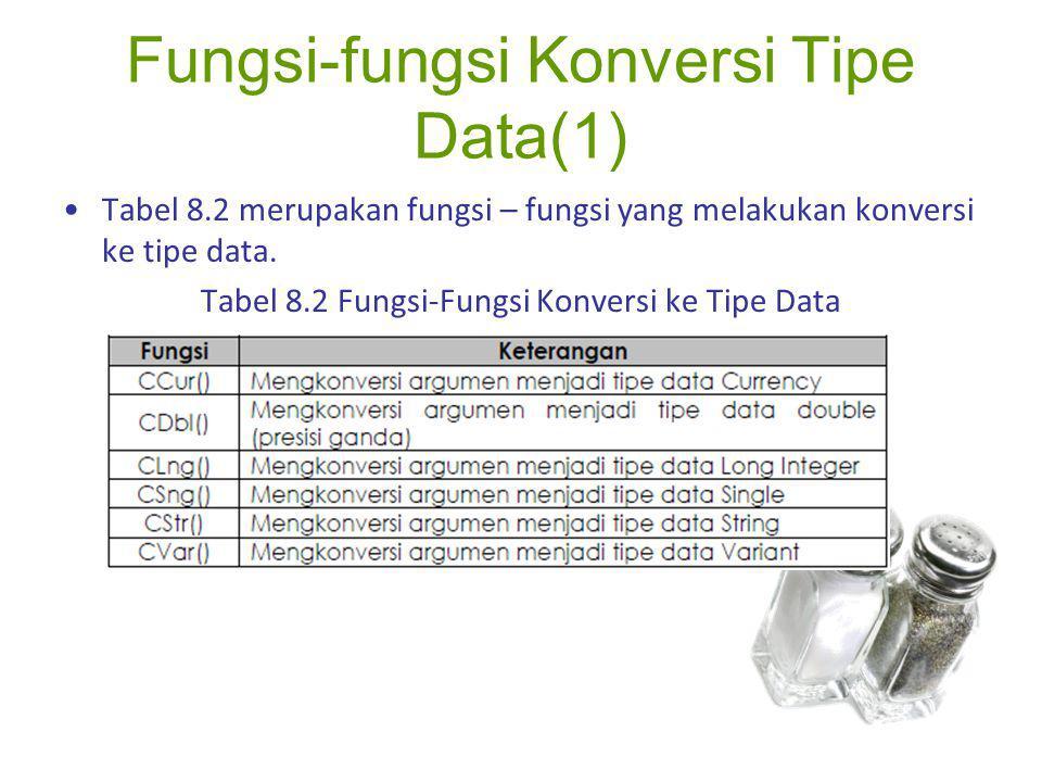Fungsi-fungsi Konversi Tipe Data(1) Tabel 8.2 merupakan fungsi – fungsi yang melakukan konversi ke tipe data. Tabel 8.2 Fungsi-Fungsi Konversi ke Tipe