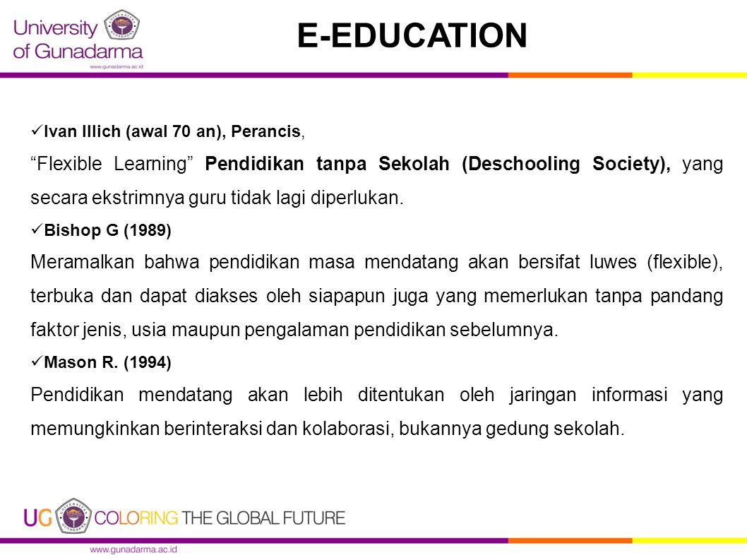 "Ivan Illich (awal 70 an), Perancis, ""Flexible Learning"" Pendidikan tanpa Sekolah (Deschooling Society), yang secara ekstrimnya guru tidak lagi diperlu"