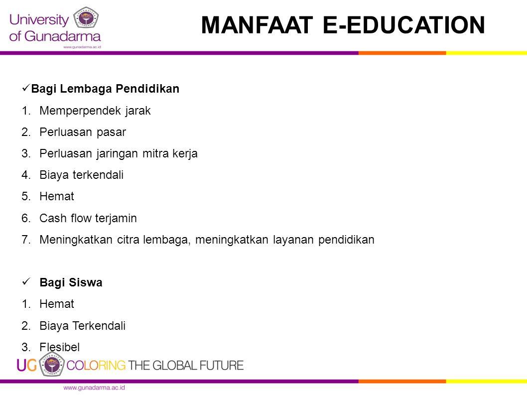 MANFAAT E-EDUCATION Bagi Masyarakat pada Umumnya : 1.Peluang kerja baru 2.Wahana kompetisi antar lembaga pendidikan Bagi Dunia Akademis 1.Tantangan baru bagi dunia akademis 2.Analisis terhadap pergeseran pola belajar 3.Membuka kerangka baru dalam penjualan jasa pendidikan