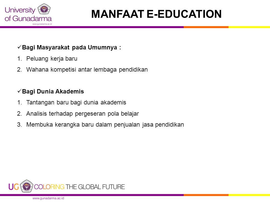 MANFAAT E-EDUCATION Bagi Masyarakat pada Umumnya : 1.Peluang kerja baru 2.Wahana kompetisi antar lembaga pendidikan Bagi Dunia Akademis 1.Tantangan ba