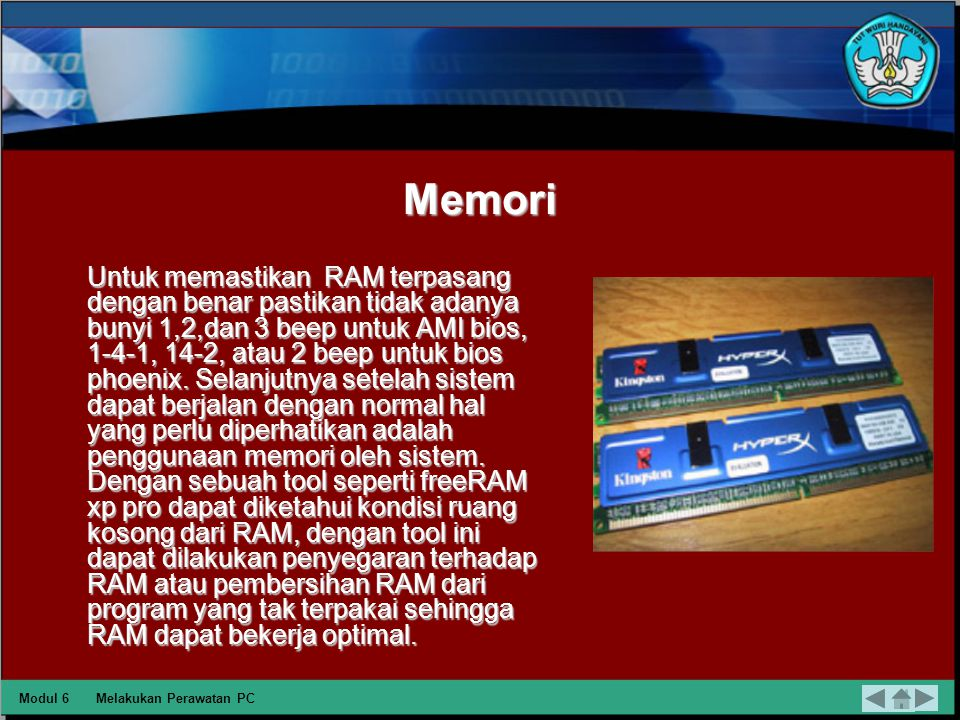VGA Card Kondisi yang perlu diperhatikan untuk VGA Card yaitu dengan memperhatikan putaran fan pada chipset VGA card tetap lancar tanpa ada bunyi yang