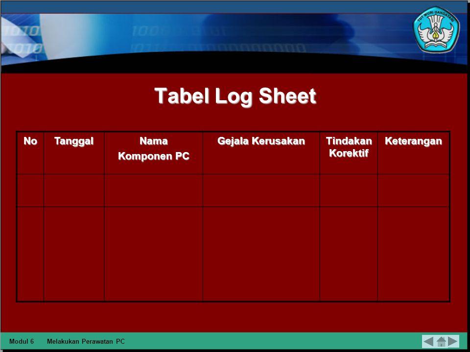 Penyusunan Laporan Laporan dapat berupa logsheet atu sejenisnya, dengan logsheet yang dibuat setiap melakukan maintenance atau tindakan perawatan terhadap PC akan mempermudah pengecekan kondisi PC.