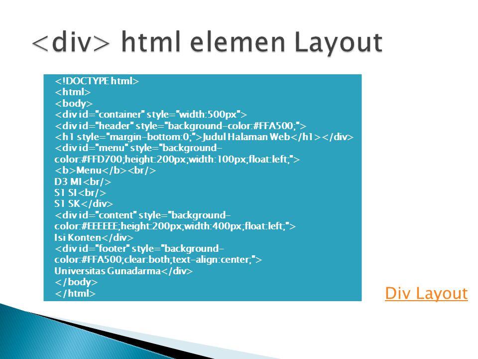 Div Layout Judul Halaman Web Menu D3 MI S1 SI S1 SK Isi Konten Universitas Gunadarma