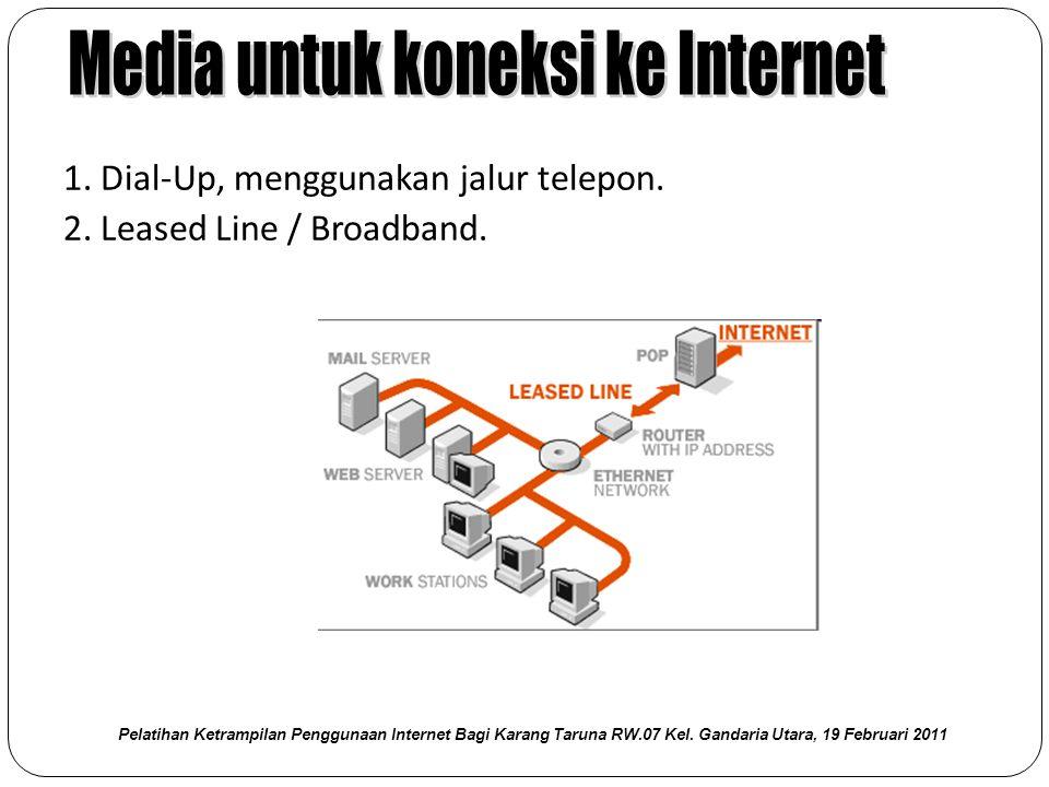 1. Dial‐Up, menggunakan jalur telepon. 2. Leased Line / Broadband. Pelatihan Ketrampilan Penggunaan Internet Bagi Karang Taruna RW.07 Kel. Gandaria Ut