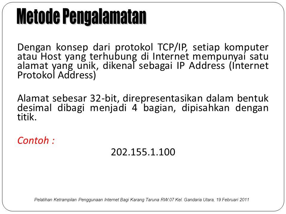 Dengan konsep dari protokol TCP/IP, setiap komputer atau Host yang terhubung di Internet mempunyai satu alamat yang unik, dikenal sebagai IP Address (