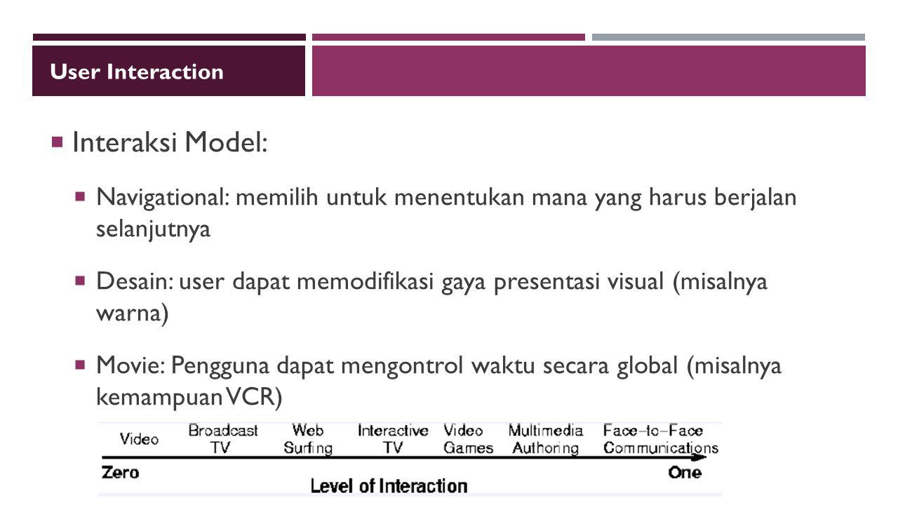 User Interaction  Interaksi Model:  Navigational: memilih untuk menentukan mana yang harus berjalan selanjutnya  Desain: user dapat memodifikasi ga