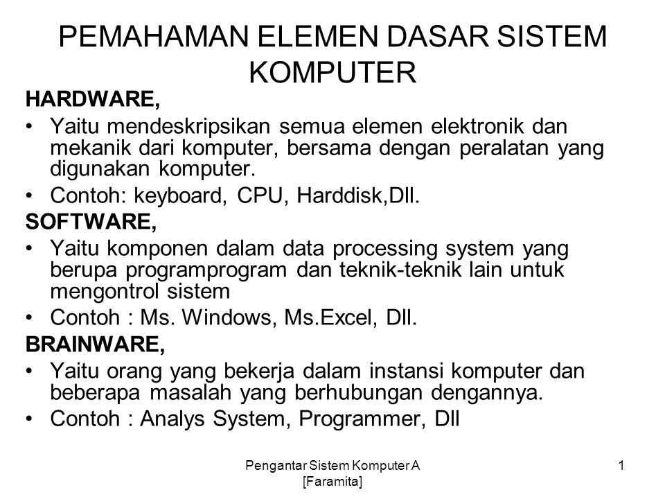 PEMAHAMAN ELEMEN DASAR SISTEM KOMPUTER HARDWARE, Yaitu mendeskripsikan semua elemen elektronik dan mekanik dari komputer, bersama dengan peralatan yan