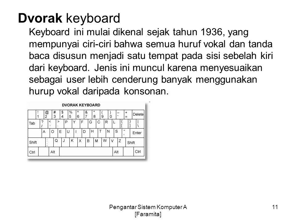 Dvorak keyboard Keyboard ini mulai dikenal sejak tahun 1936, yang mempunyai ciri-ciri bahwa semua huruf vokal dan tanda baca disusun menjadi satu temp