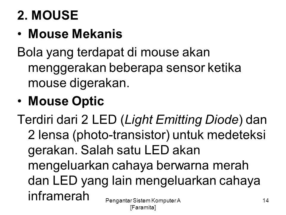 2. MOUSE Mouse Mekanis Bola yang terdapat di mouse akan menggerakan beberapa sensor ketika mouse digerakan. Mouse Optic Terdiri dari 2 LED (Light Emit
