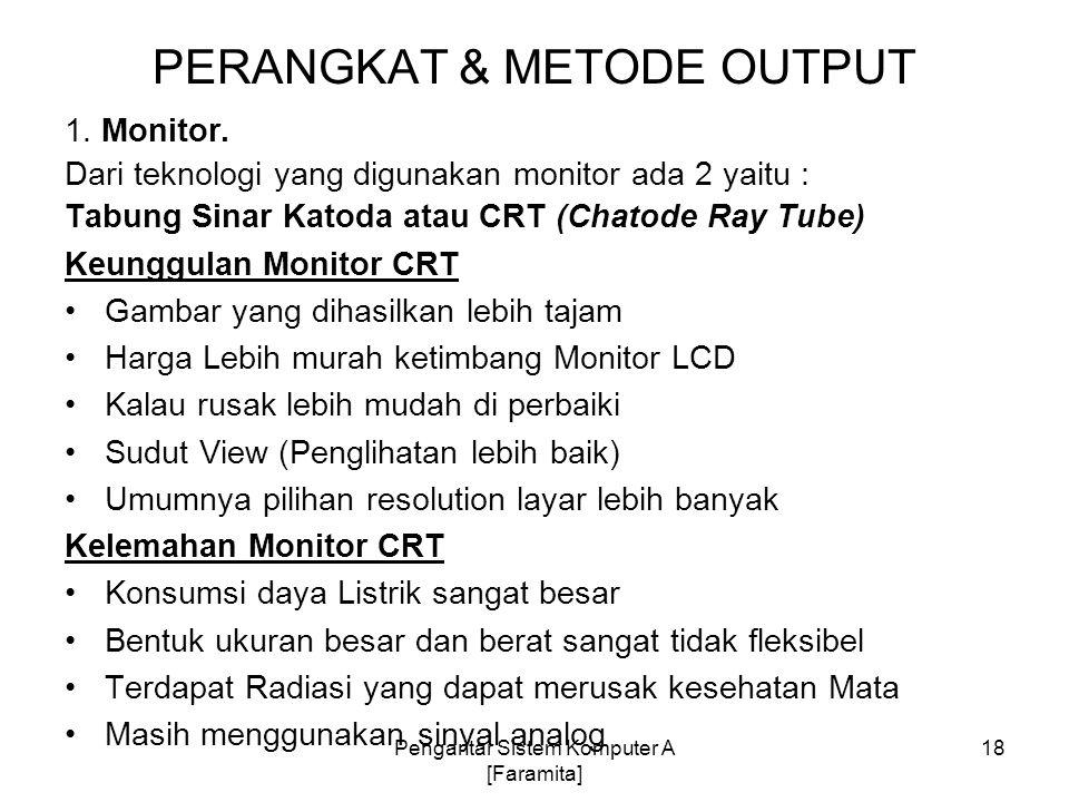 PERANGKAT & METODE OUTPUT 1. Monitor. Dari teknologi yang digunakan monitor ada 2 yaitu : Tabung Sinar Katoda atau CRT (Chatode Ray Tube) Keunggulan M