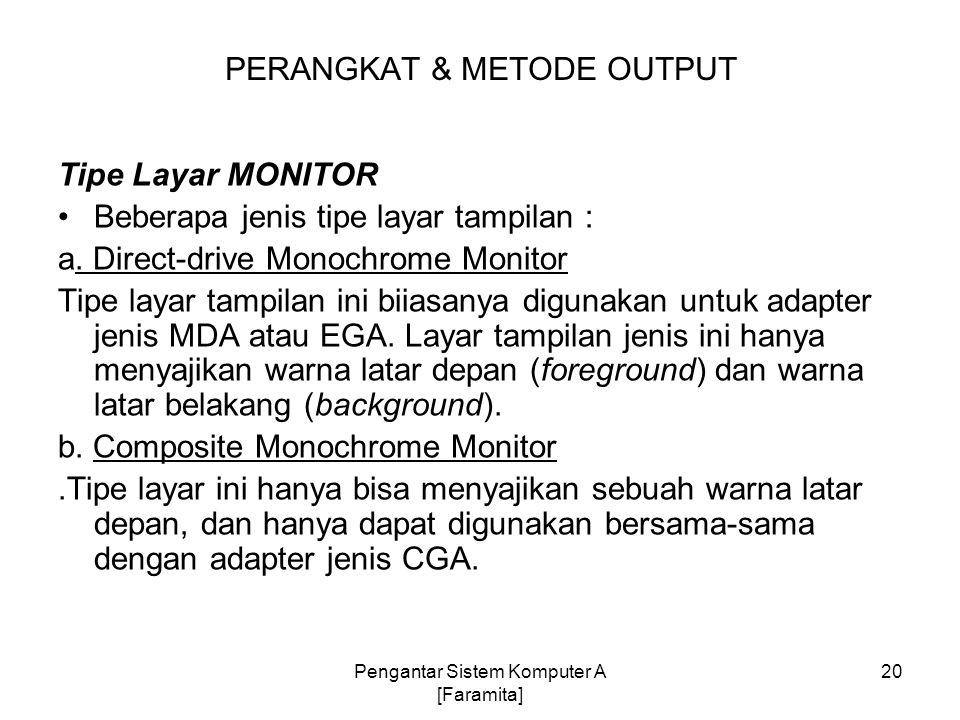Tipe Layar MONITOR Beberapa jenis tipe layar tampilan : a. Direct-drive Monochrome Monitor Tipe layar tampilan ini biiasanya digunakan untuk adapter j