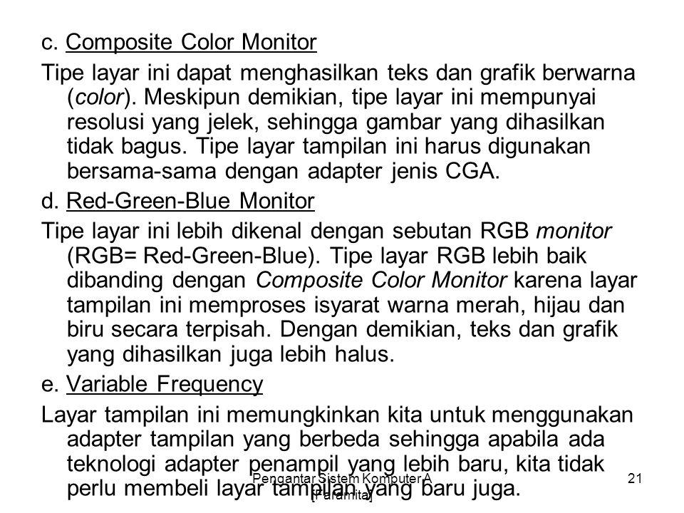 c. Composite Color Monitor Tipe layar ini dapat menghasilkan teks dan grafik berwarna (color). Meskipun demikian, tipe layar ini mempunyai resolusi ya