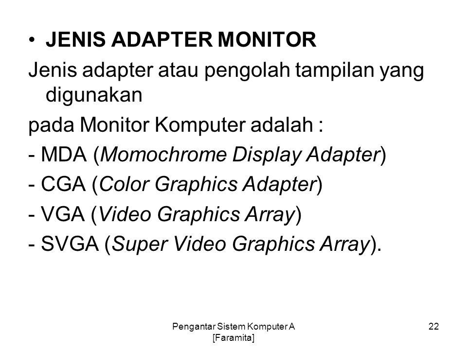 JENIS ADAPTER MONITOR Jenis adapter atau pengolah tampilan yang digunakan pada Monitor Komputer adalah : - MDA (Momochrome Display Adapter) - CGA (Col