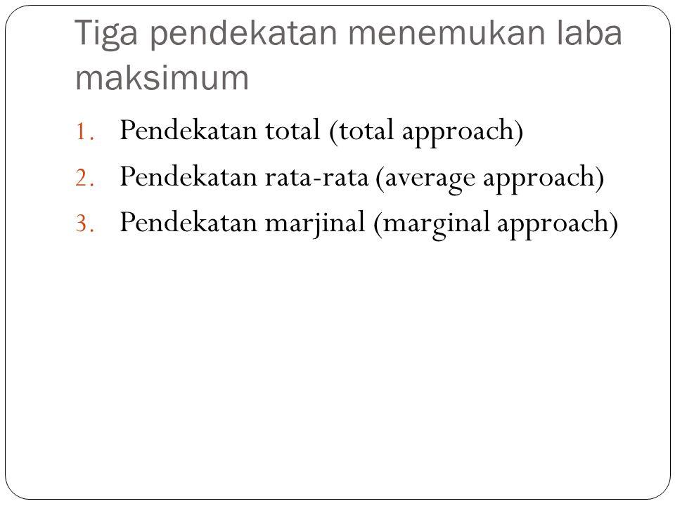 Pendekatan total (total approach)  = (P*Q) – (FC+vQ) Biasanya strategi yang ditempuh adalah penjualan maksimum (maximum selling) setelah melewati titik impas (Break event point/BEP) Jumlah penjualan BEP (Q*) = FC/(P-v)