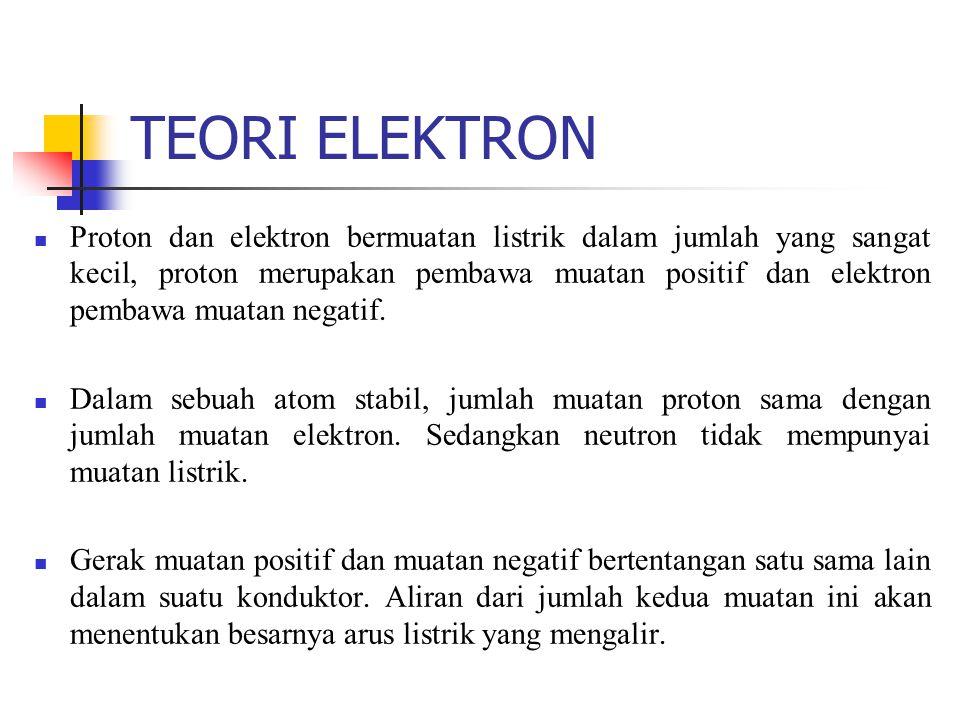 TEORI ELEKTRON Proton dan elektron bermuatan listrik dalam jumlah yang sangat kecil, proton merupakan pembawa muatan positif dan elektron pembawa muat
