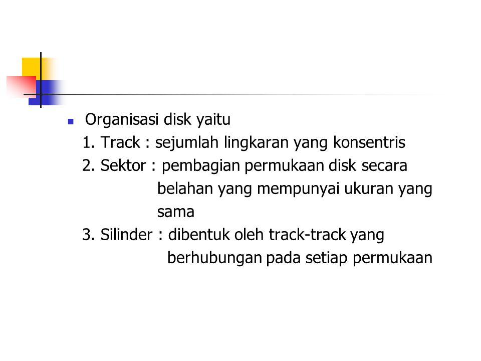 Organisasi disk yaitu 1. Track : sejumlah lingkaran yang konsentris 2. Sektor : pembagian permukaan disk secara belahan yang mempunyai ukuran yang sam