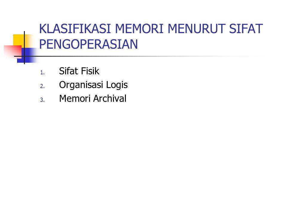 KLASIFIKASI MEMORI MENURUT SIFAT PENGOPERASIAN 1. Sifat Fisik 2. Organisasi Logis 3. Memori Archival