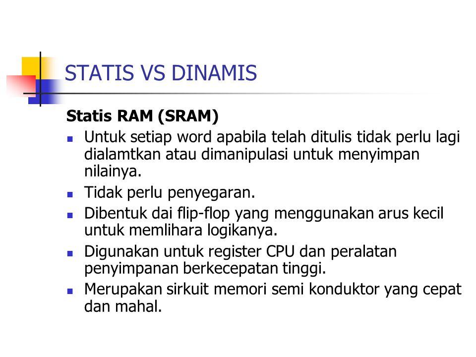 STATIS VS DINAMIS Statis RAM (SRAM) Untuk setiap word apabila telah ditulis tidak perlu lagi dialamtkan atau dimanipulasi untuk menyimpan nilainya. Ti