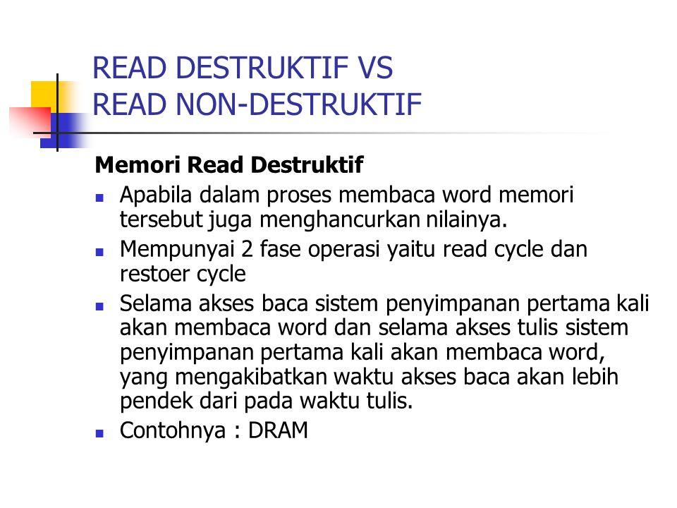 READ DESTRUKTIF VS READ NON-DESTRUKTIF Memori Read Destruktif Apabila dalam proses membaca word memori tersebut juga menghancurkan nilainya. Mempunyai