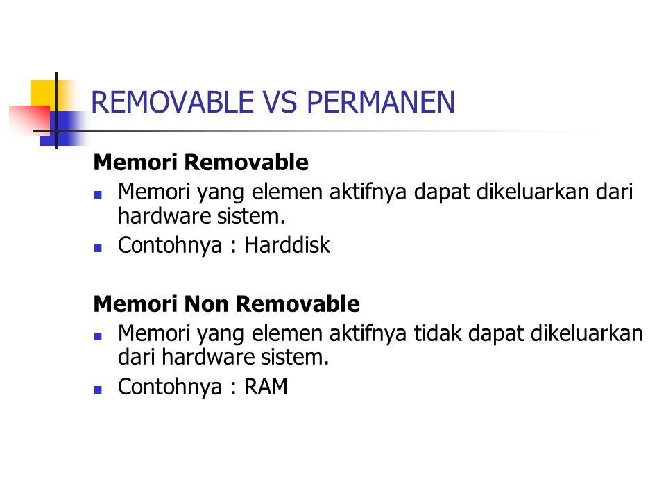 REMOVABLE VS PERMANEN Memori Removable Memori yang elemen aktifnya dapat dikeluarkan dari hardware sistem. Contohnya : Harddisk Memori Non Removable M