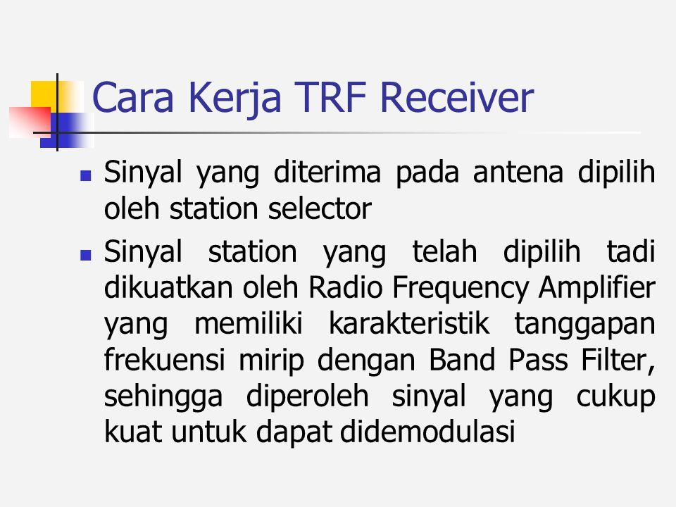 Cara KerjaTRF Receiver Sinyal yang diterima pada antena dipilih oleh station selector Sinyal station yang telah dipilih tadi dikuatkan oleh Radio Frequency Amplifier yang memiliki karakteristik tanggapan frekuensi mirip dengan Band Pass Filter, sehingga diperoleh sinyal yang cukup kuat untuk dapat didemodulasi