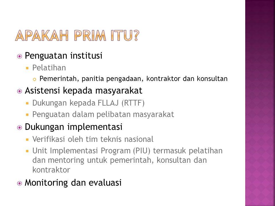  Penguatan institusi  Pelatihan Pemerintah, panitia pengadaan, kontraktor dan konsultan  Asistensi kepada masyarakat  Dukungan kepada FLLAJ (RTTF)