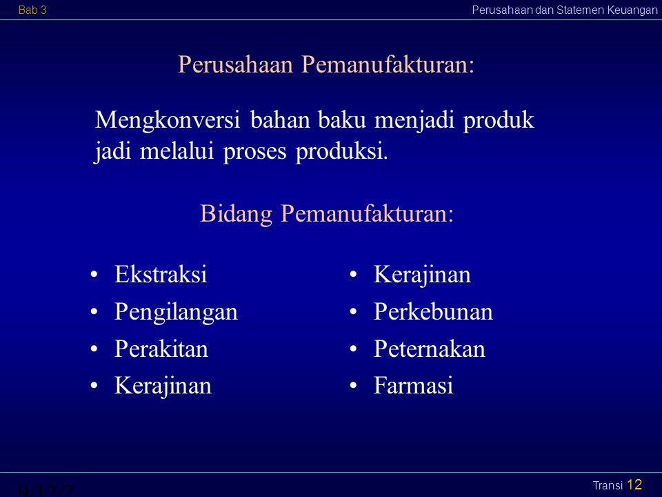 Bab 3Perusahaan dan Statemen Keuangan9/12/2014 Transi 13 Komponen Pemanufakturan: Material (raw material) Tenaga kerja langsung (labor) Overhead